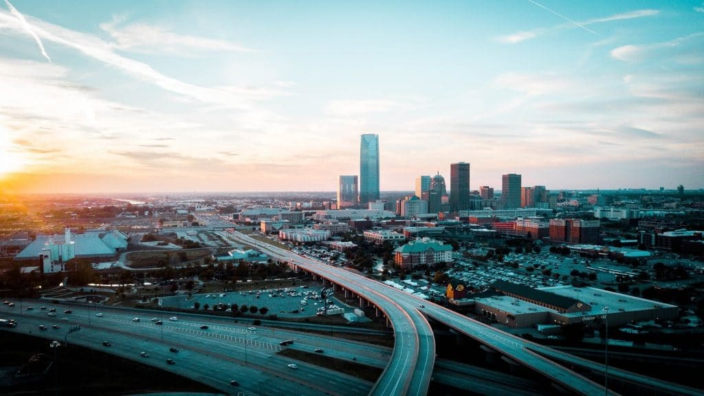 Aerial view of Oklahoma City at sunset